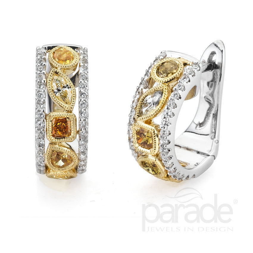 Two Tone Fancy Color Diamond Earrings