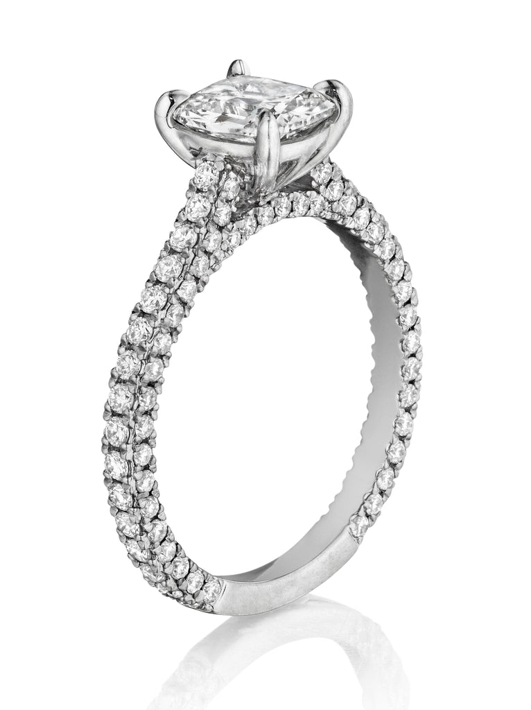 Henri Daussi Three-Sided Diamond Engagement Ring H04 available at Richter & Phillips Jewelers Downtown Cincinnati OH