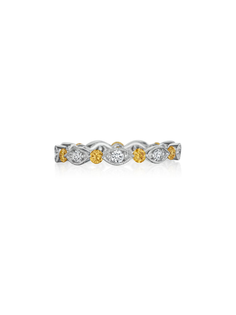 Henri Daussi bead set white & fancy yellow diamond milgrain wedding band R37-5 Richter & Phillips Jewelers Cincinnati OH