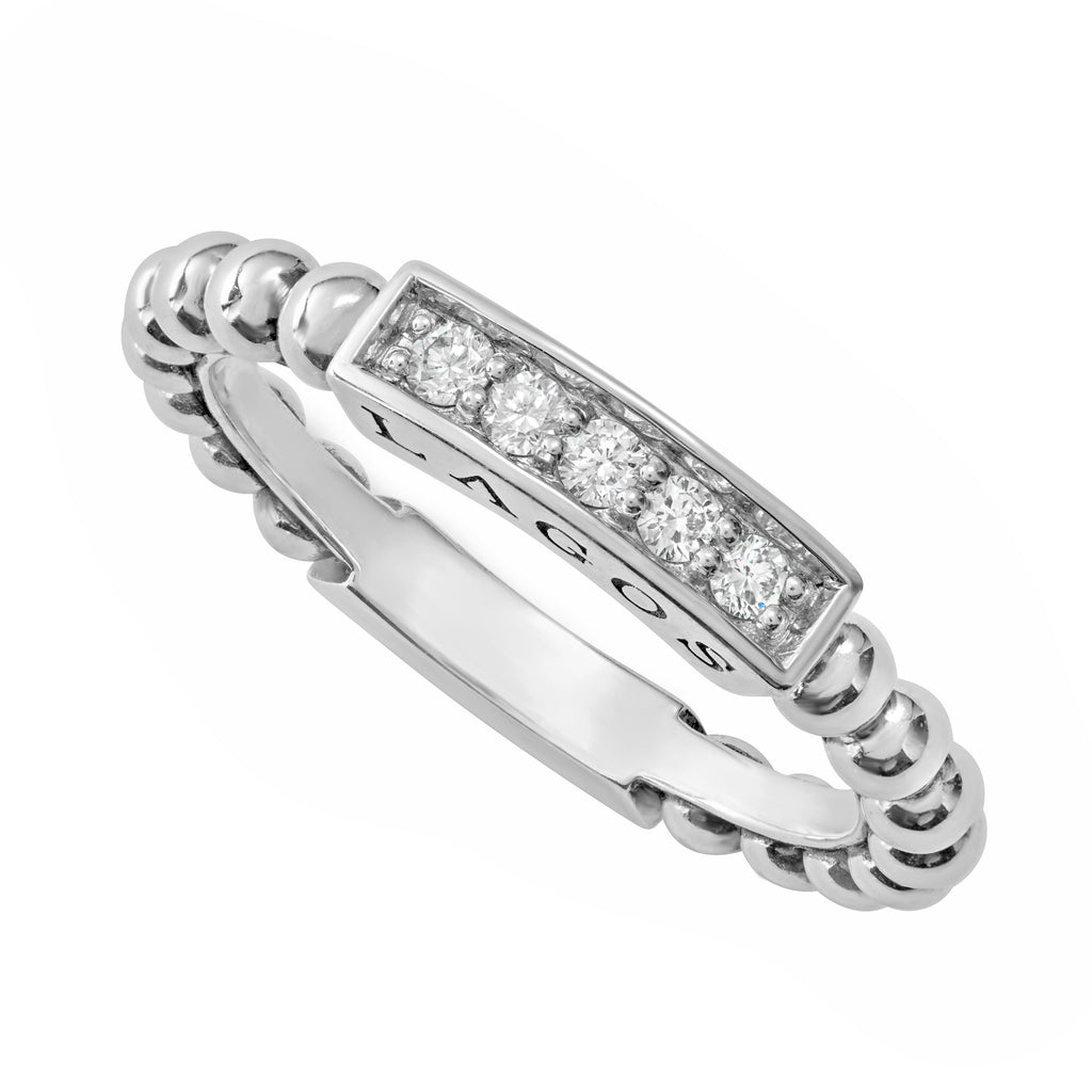 Lagos Caviar Spark diamond stacking ring 02-80615-dd Richter & Phillips Jewelers Cincinnati, OH