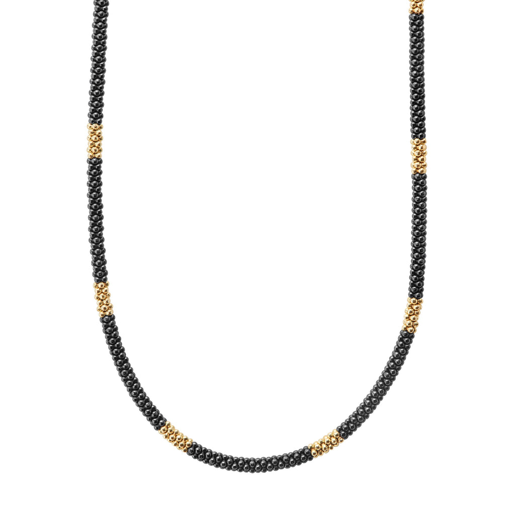 LAGOS GOLD & BLACK CAVIAR Beaded Necklace 04-10453-CB16 Richter & Phillips Jewelers Cincinnati, OH