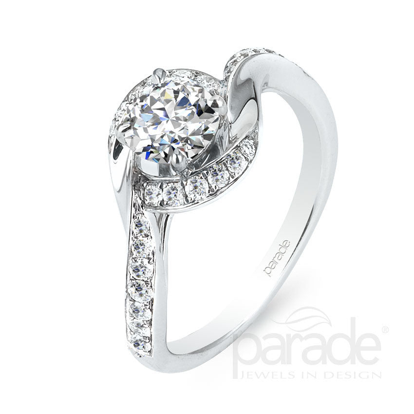 White Gold Twist Design Diamond Engagement Ring