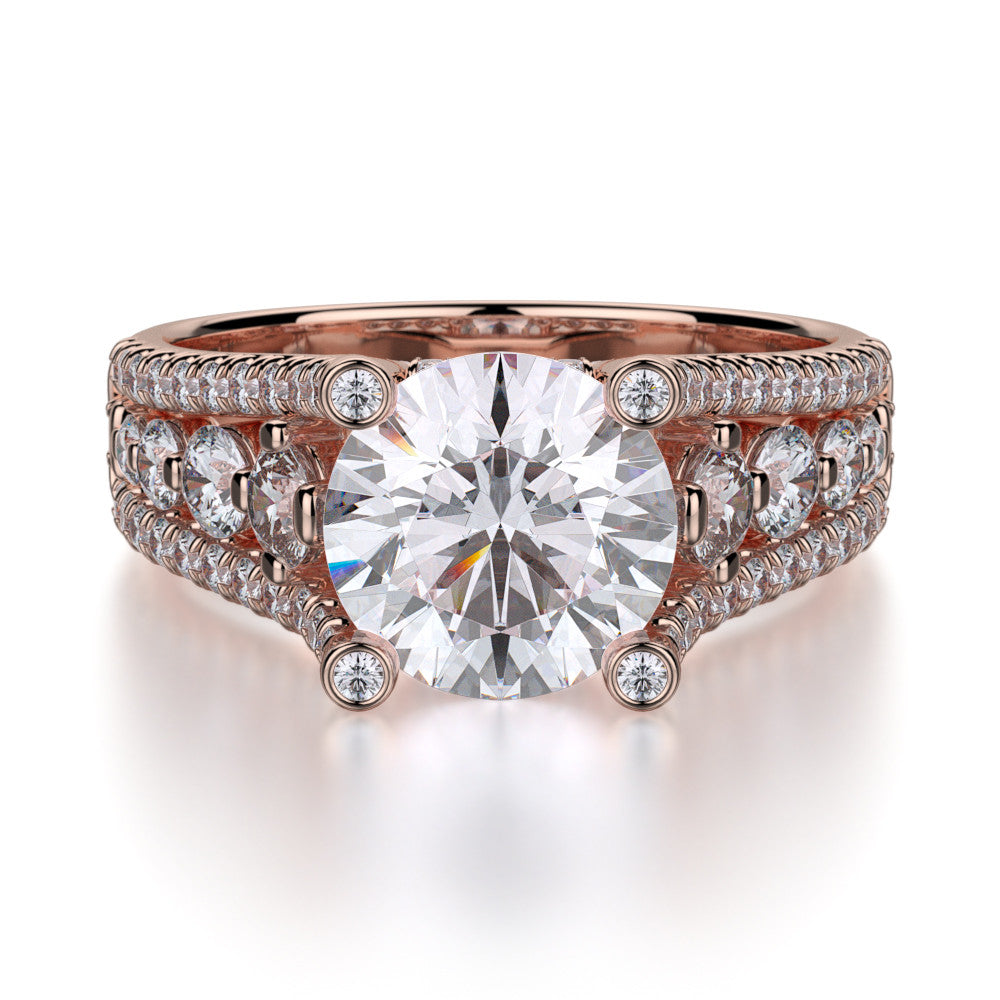 Michael M rose gold diamond engagement ring R306-2