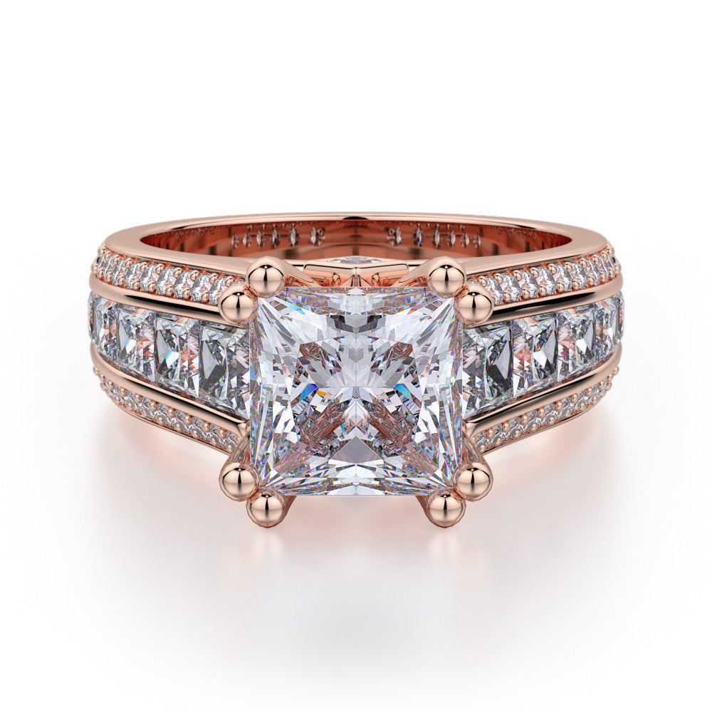 Michael M rose gold princess diamond engagement ring R401-2