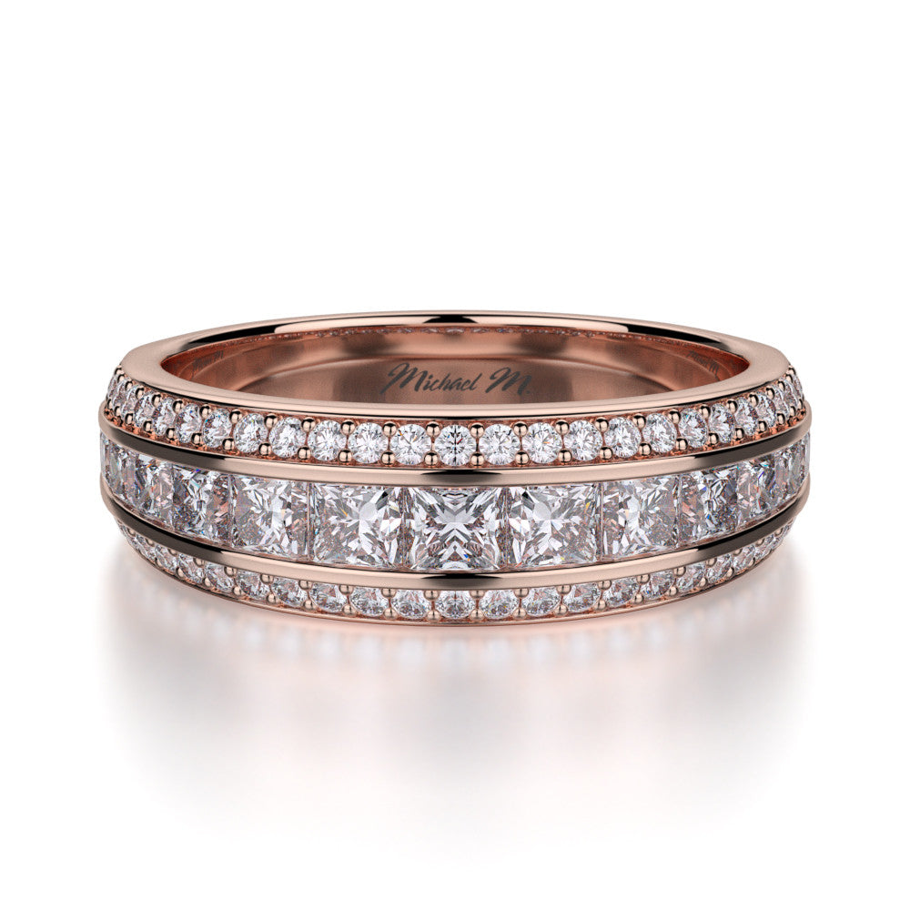 Michael M Rose gold princess cut diamond band R401B