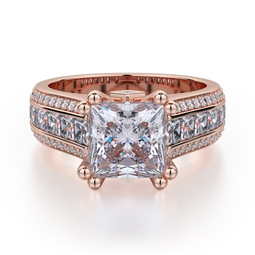 Rose gold Michael M Princess diamond engagement ring R401S-1.5