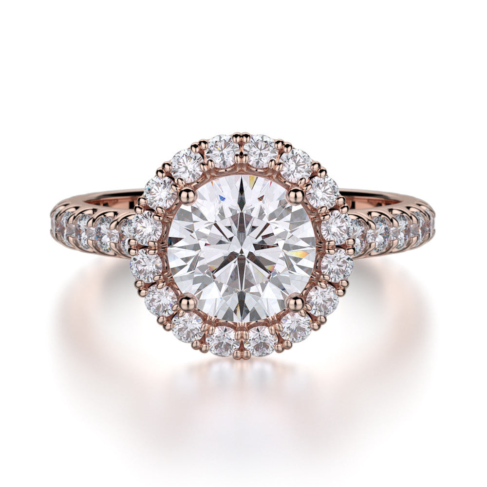 Michael M rose gold diamond halo engagement ring R320-1.5