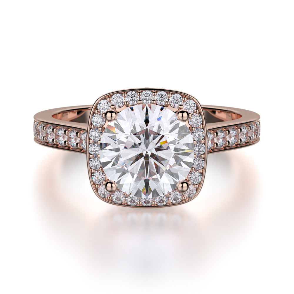 Michael M rose gold halo diamond engagement ring. R353-2