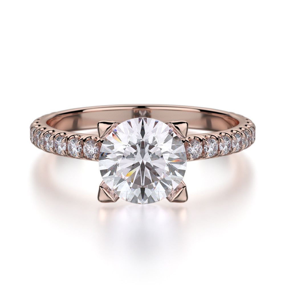 Michael M Rose gold diamond engagement ring R371-1