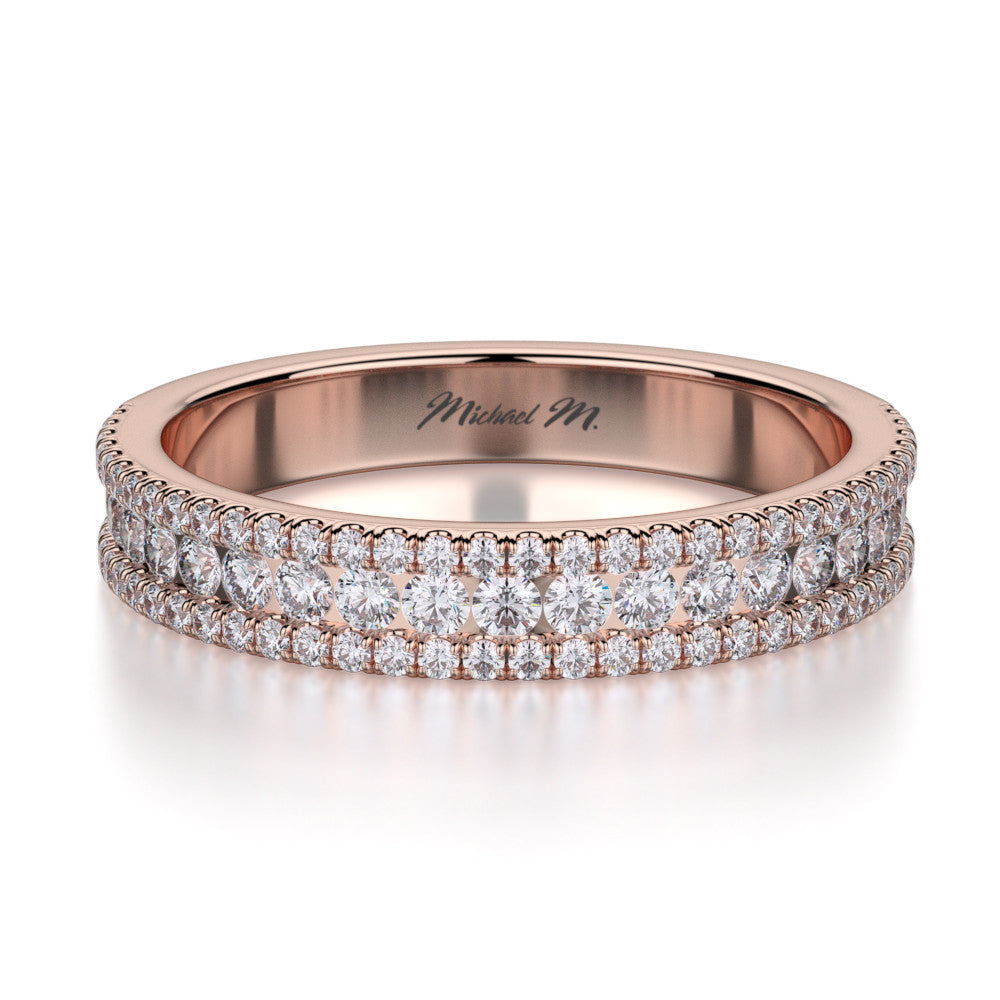 Michael M Rose gold diamond band R396BS
