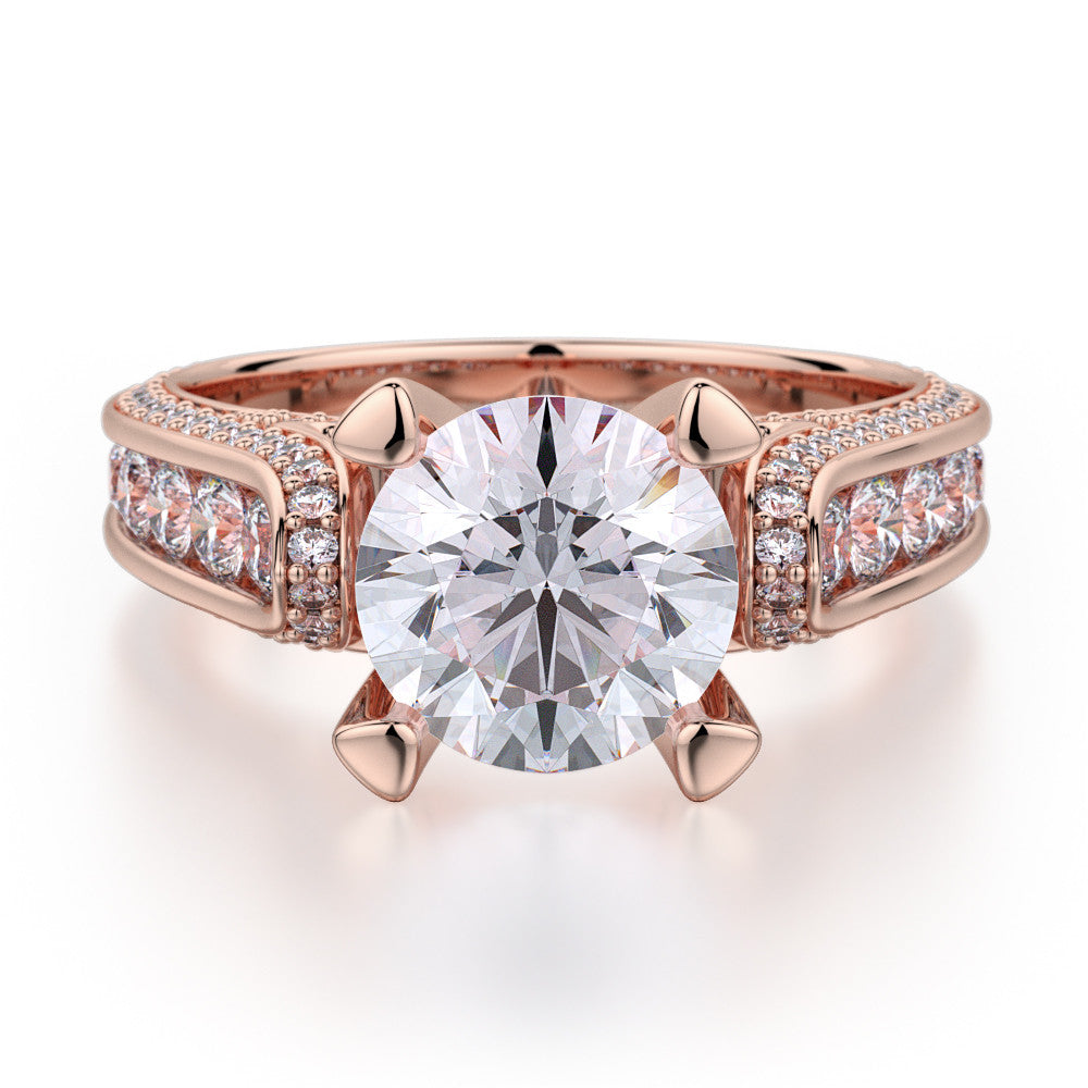 Rose gold Michael M diamond engagement ring R399-2