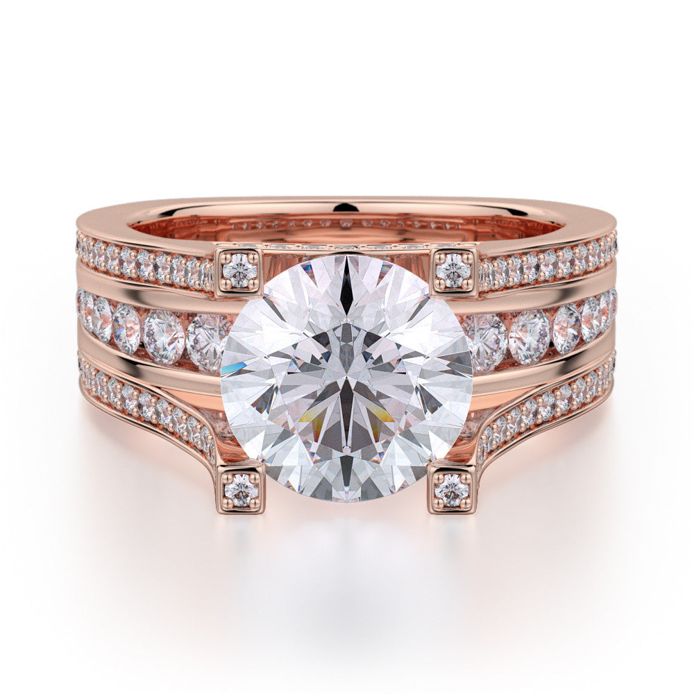 Michael M rose gold diamond engagement ring R410-2