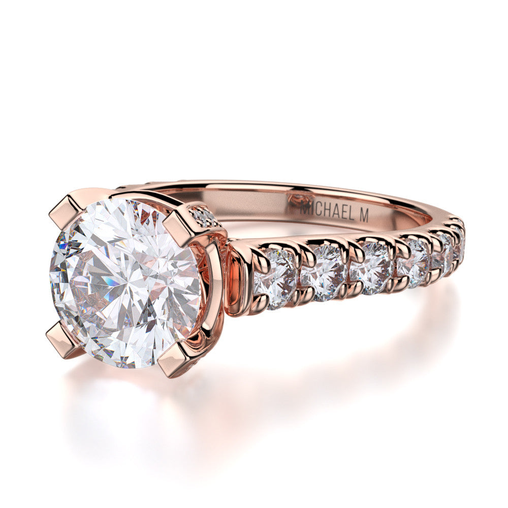 Michael M rose gold diamond engagement ring R255-2