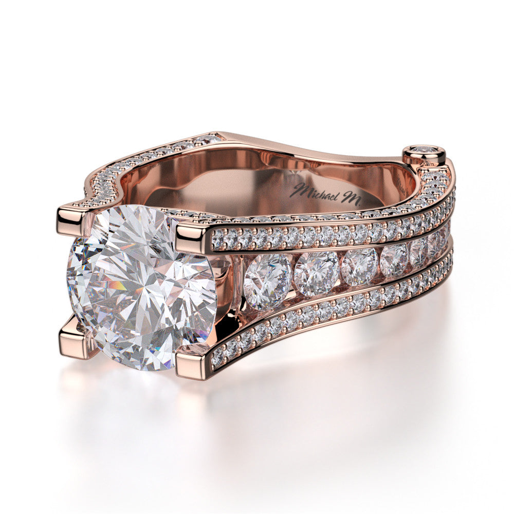 Michael M rose gold diamond engagement ring R302-2
