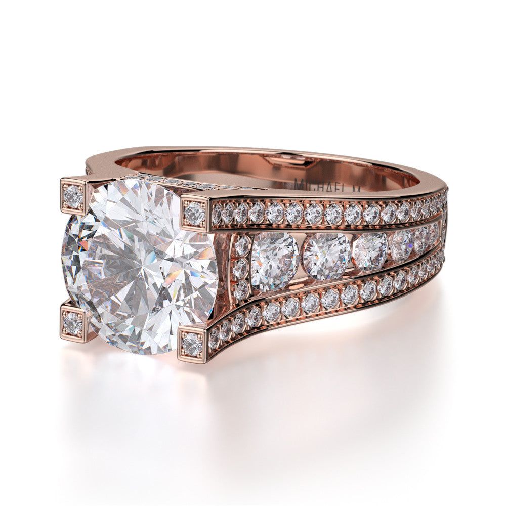 Rose gold Michael M diamond engagement ring R325-2