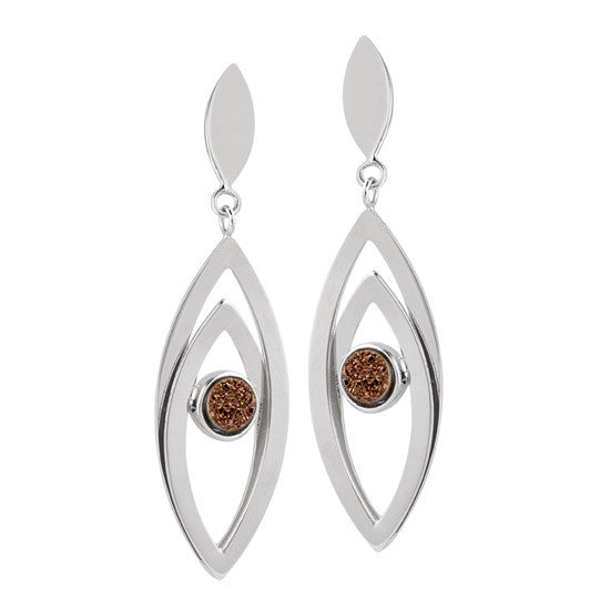 Sterling Double Marquis Chocolate Drusy Earrings
