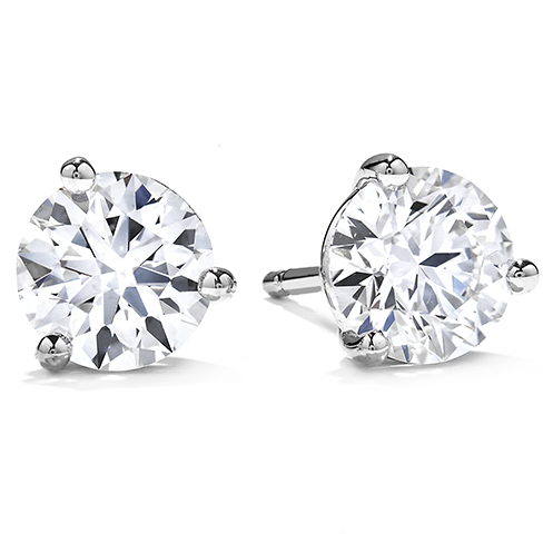 Diamond Three Prong Stud Earrings