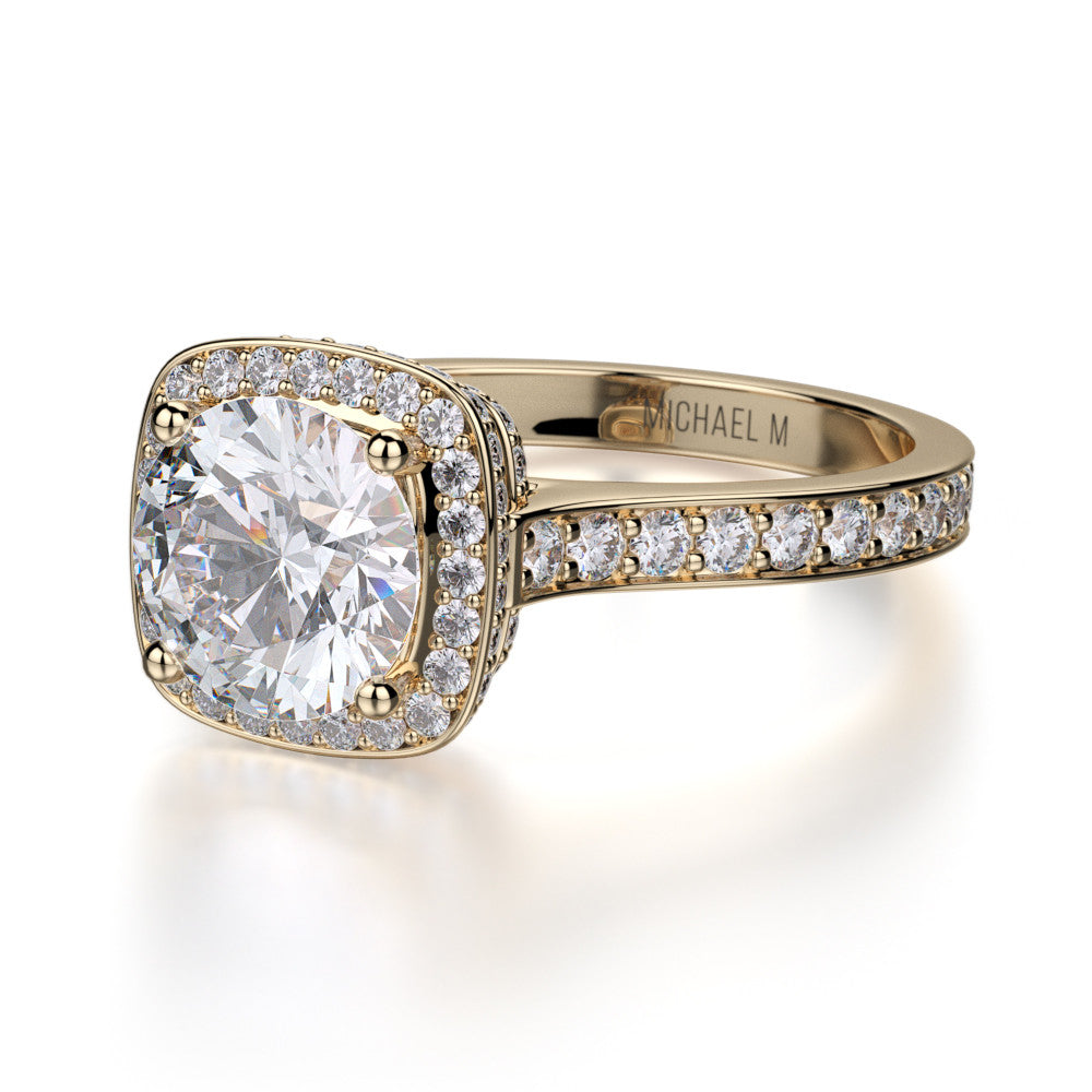 18K Yellow Gold Love Diamond Engagement Ring