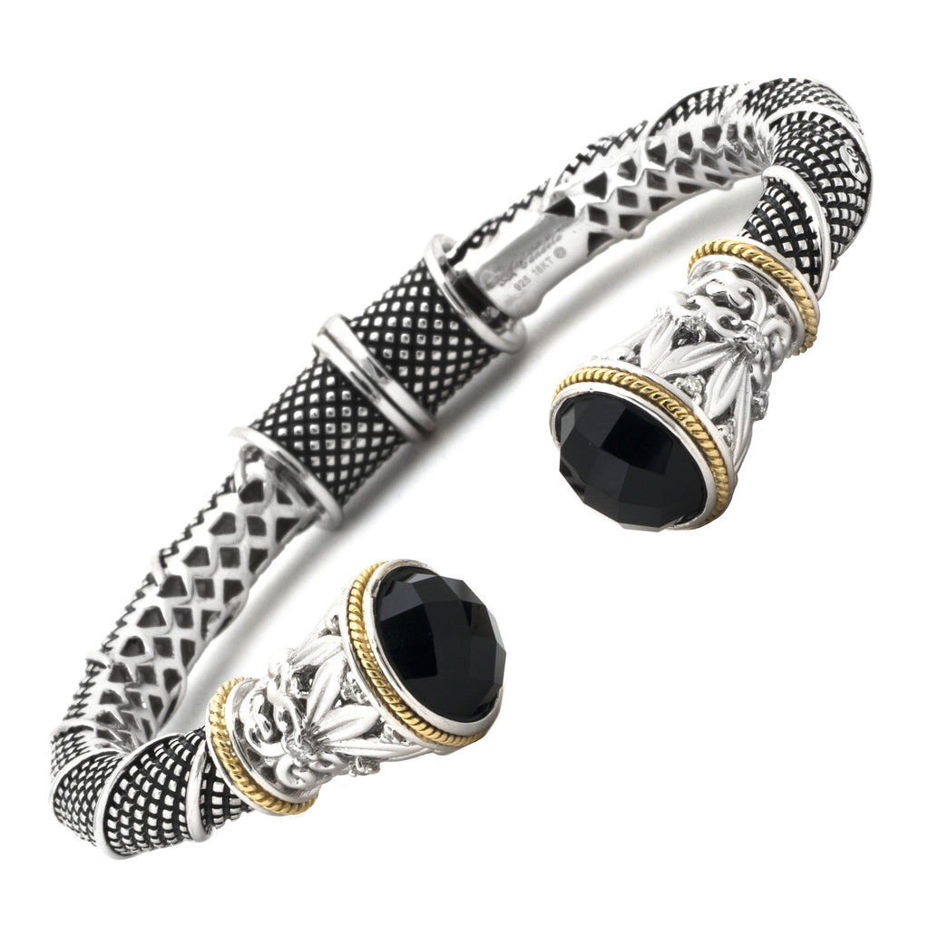 Gold and Silver Fleur de Lis Black Onyx Bangle