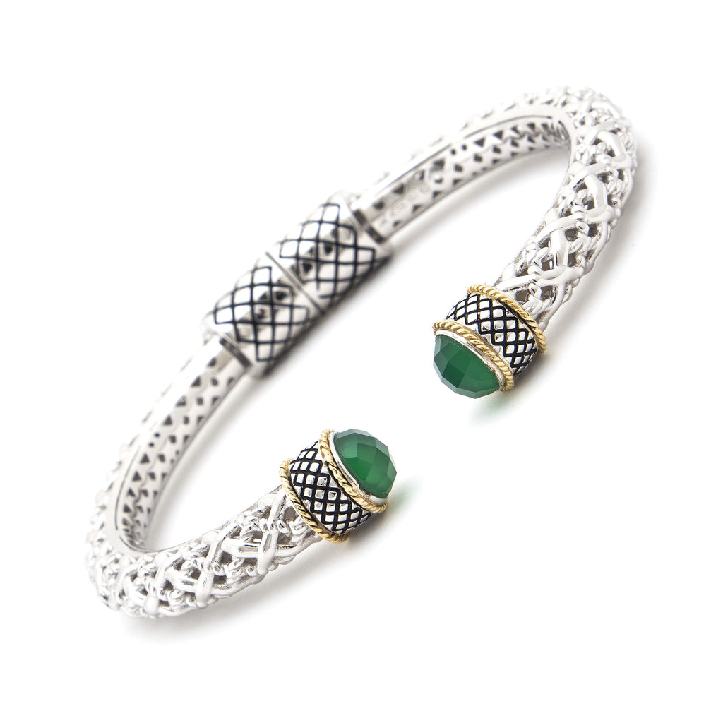 Silver & Gold Green Agate Bangle