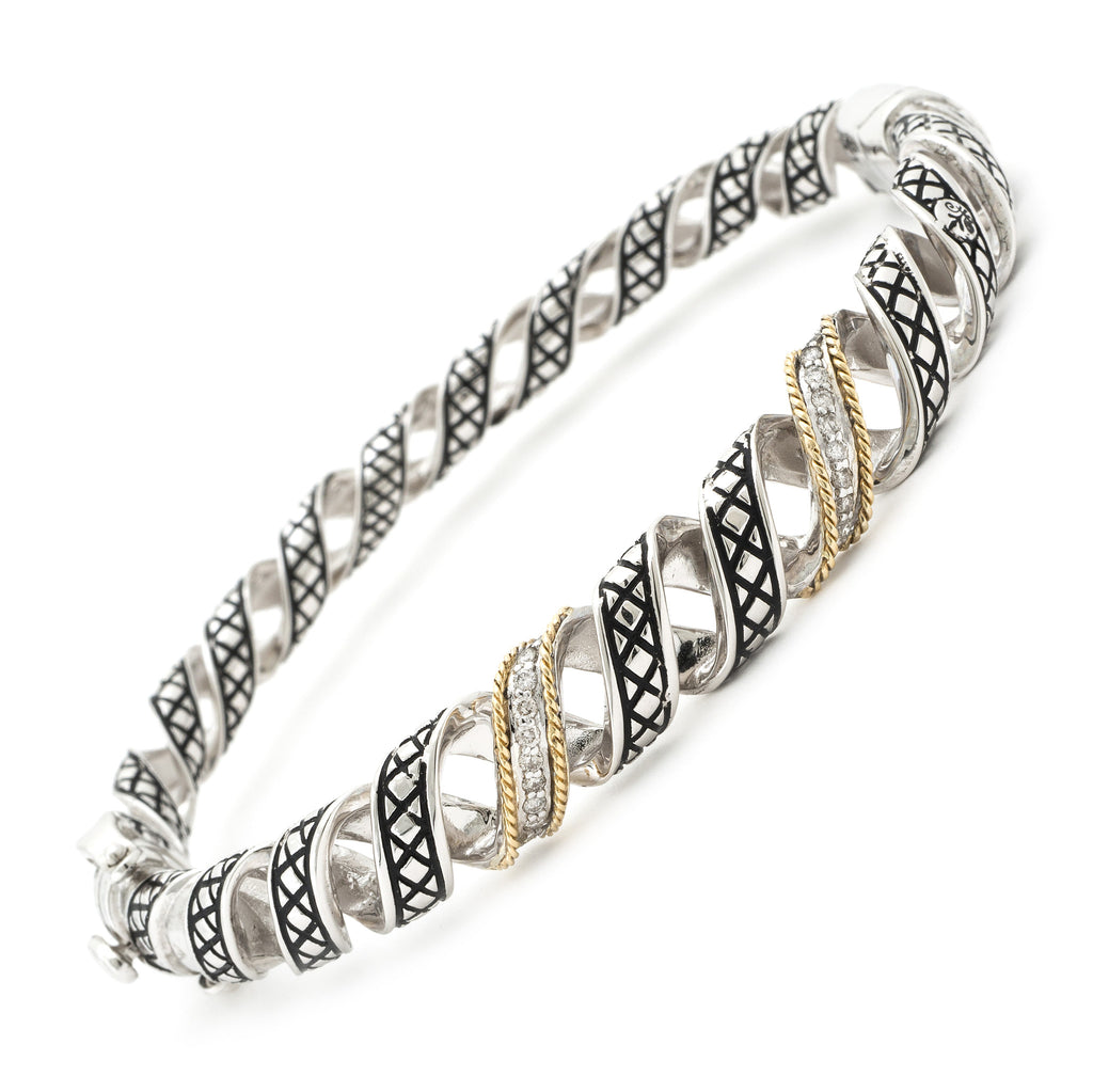 Silver & Gold Diamond Bangle Bracelet