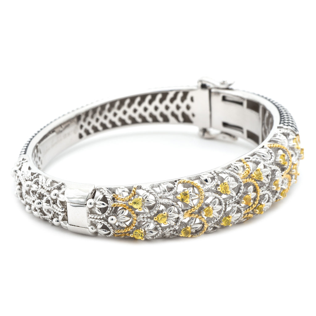Gold & Silver Yellow Saphhire Bangle