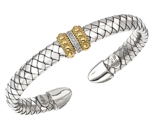 Alisa Designs basketweave diamond cuff bracelet VHB 1469 D
