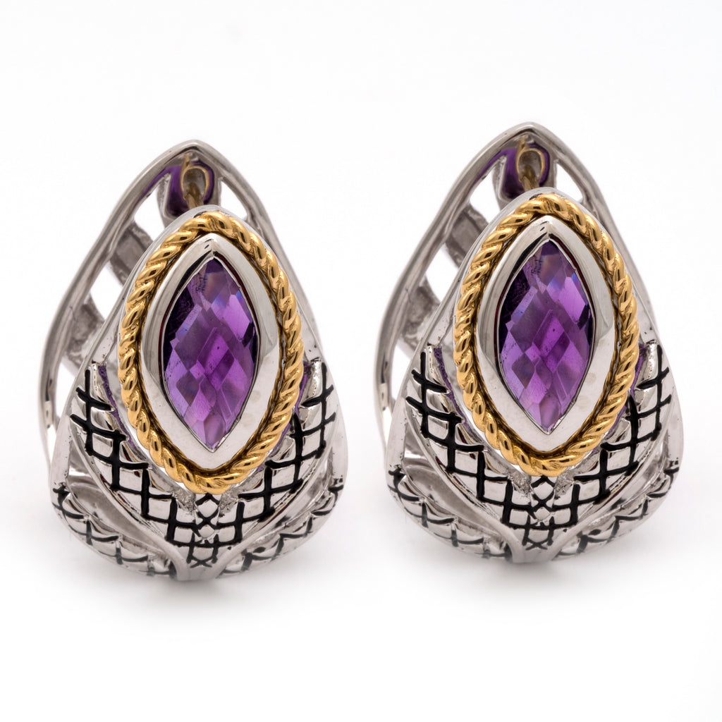 Andrea Candela Amethyst huggie hoop earrings ACE349-A