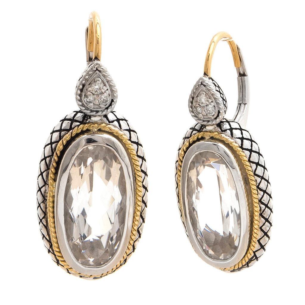 andrea candela white topaz and diamond drop earrings ace363/07-wt