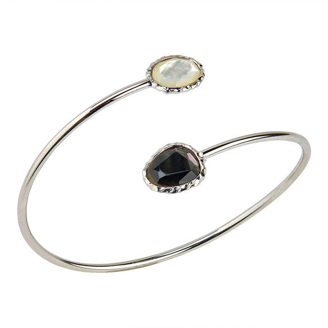 STERLING SILVER BLACK & WHITE MOTHER-OF PEARL CUFF