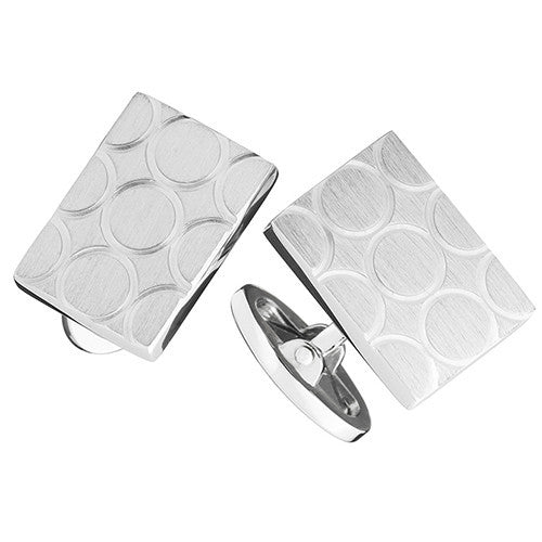 Sterling Rectangular Brushed Circle Cufflinks