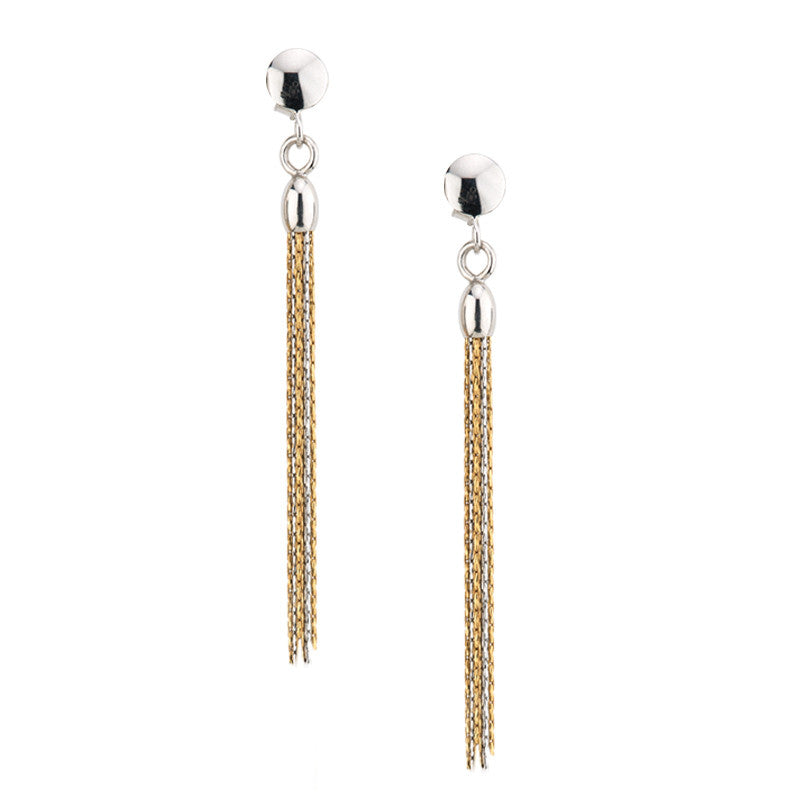 STERLING SILVER & GOLD TASSEL EARRINGS