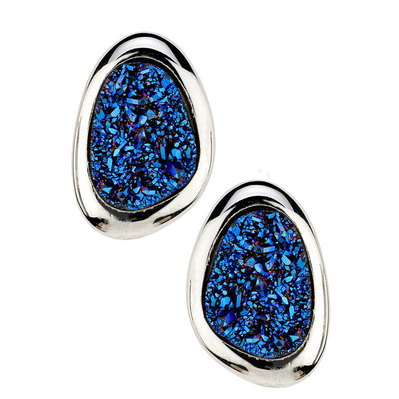 STERLING SILVER BLUE DRUSY EARRINGS