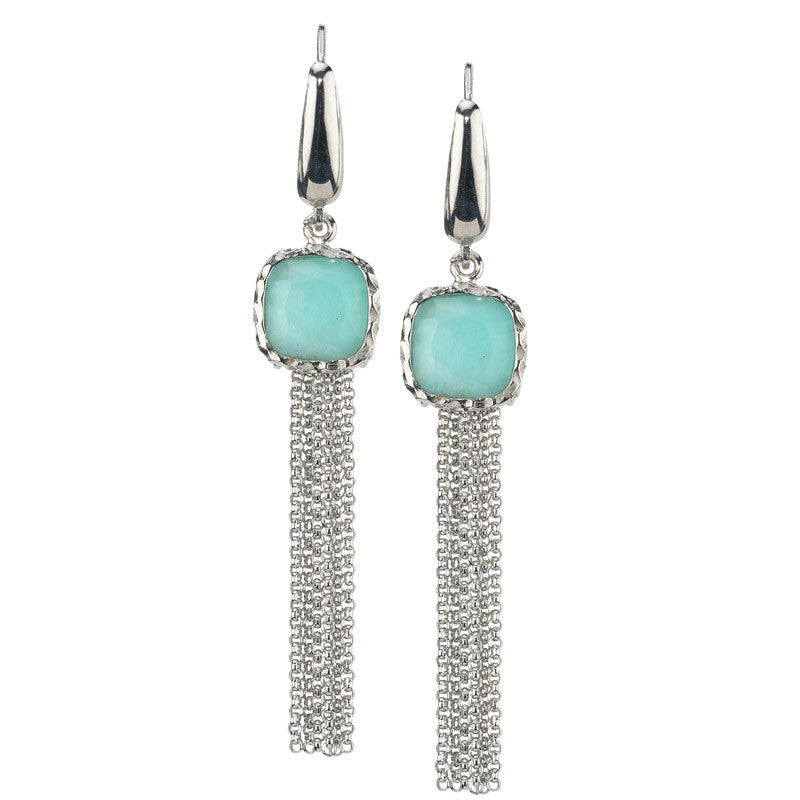 STERLING SILVER AMAZONITE EARRINGS