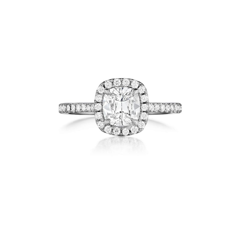henri daussi halo single shank diamond engagement ring H21 available at Richter & Phillips Jewelers Downtown Cincinnati OH