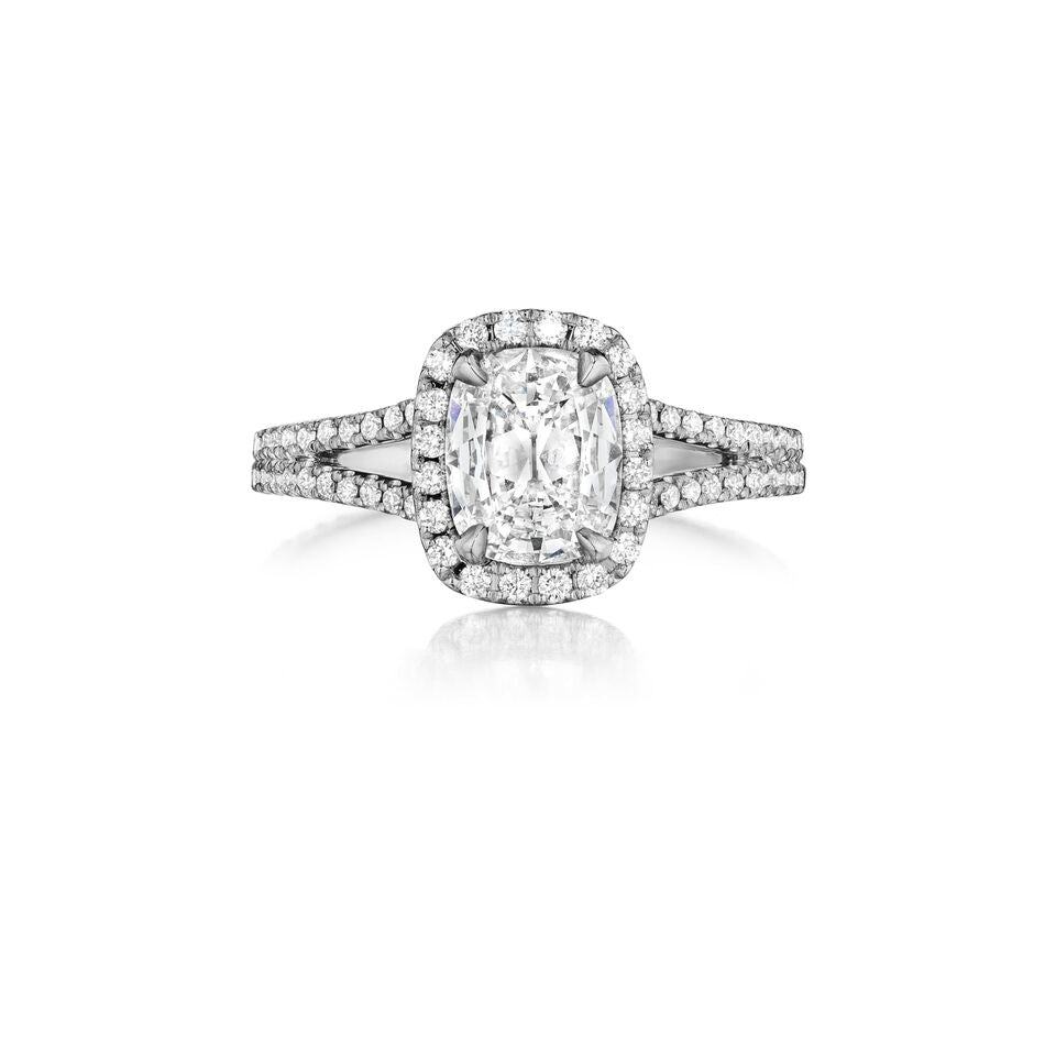 Henri Daussi Split Shank Halo Diamond Engagement Ring H11 available at Richter & Phillips Jewelers Downtown Cincinnati OH