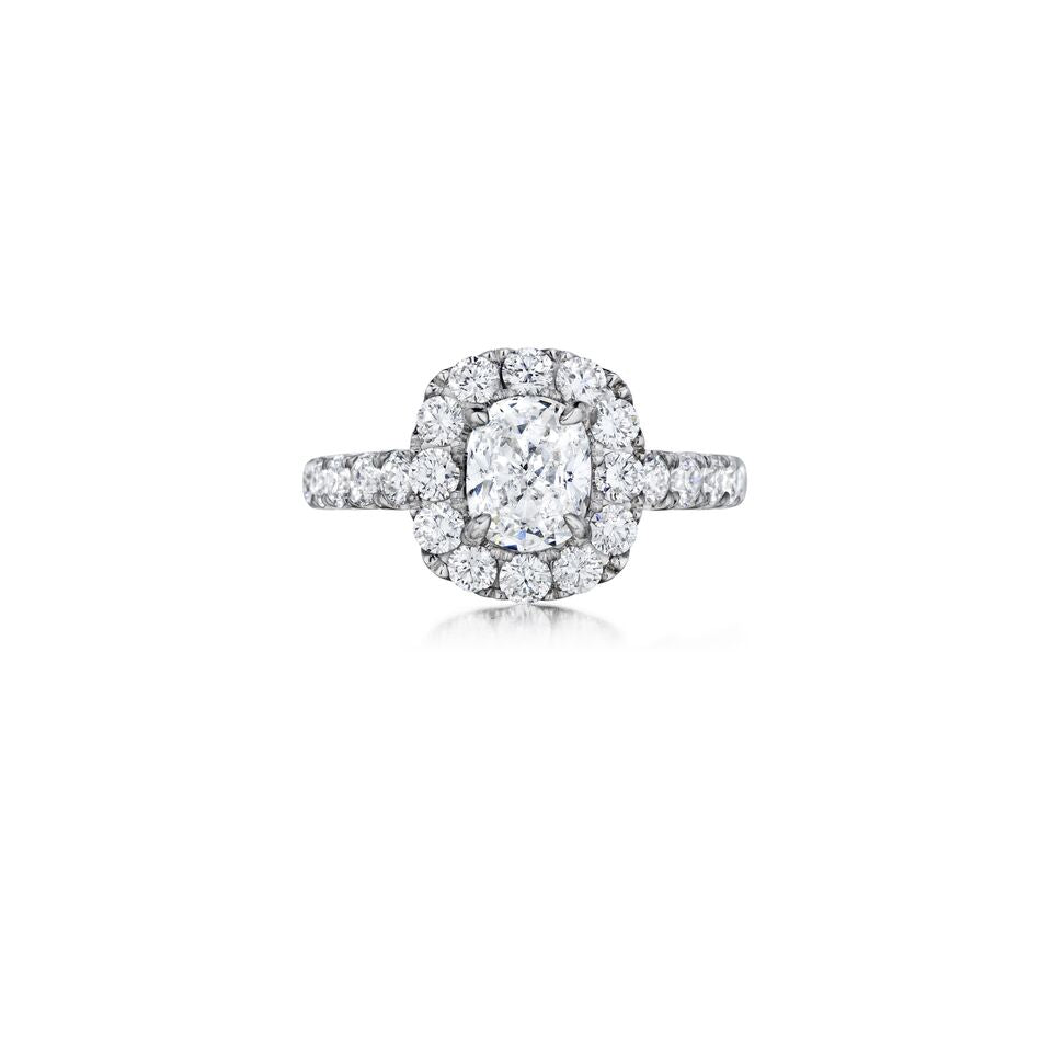 henri daussi Diamond halo single shank engagement ring AWSB available at Richter & Phillips Jewelers Downtown Cincinnati OH