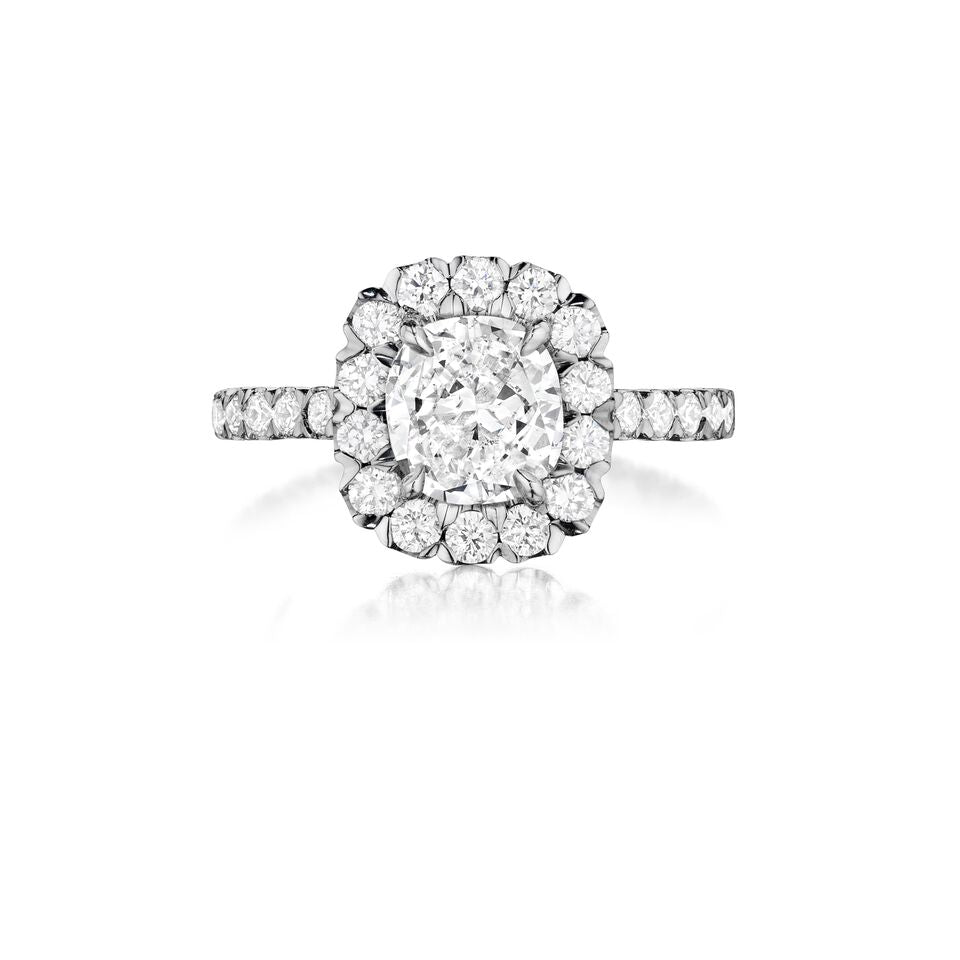 henri daussi v-prong set halo single shank diamond engagement ring AJK available at Richter & Phillips Jewelers Downtown Cincinnati OH