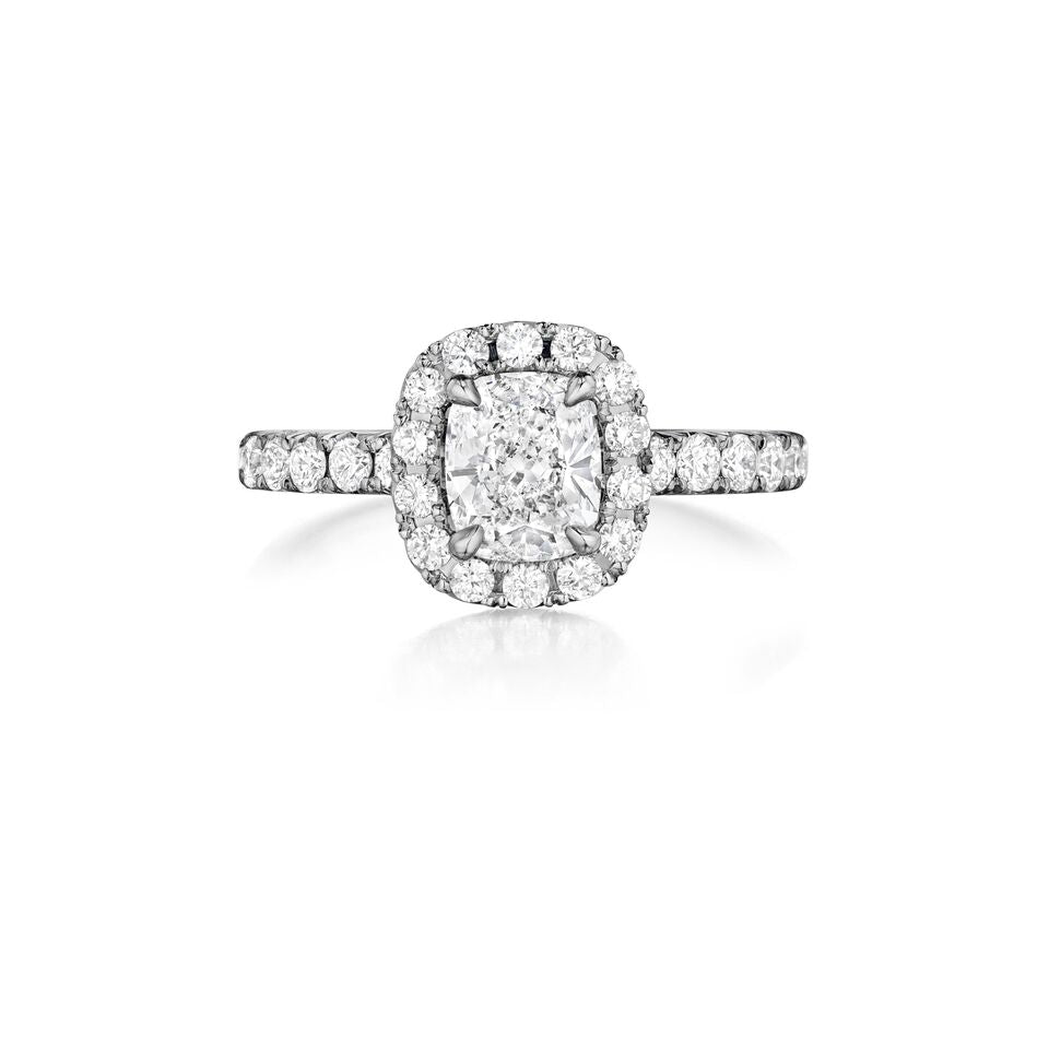 henri daussi halo single shank diamond engagement ring H22 available at Richter & Phillips Jewelers Downtown Cincinnati OH