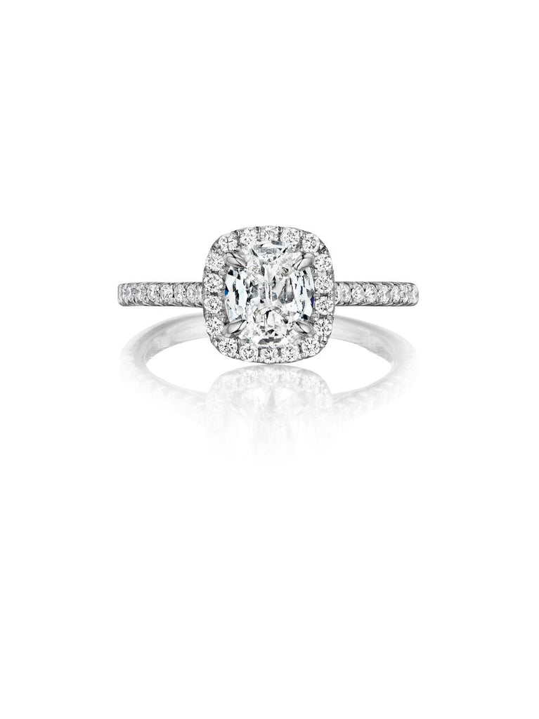 Henri Daussi halo single shank diamond engagement ring ALG available at Richter & Phillips Jewelers Downtown Cincinnati OH