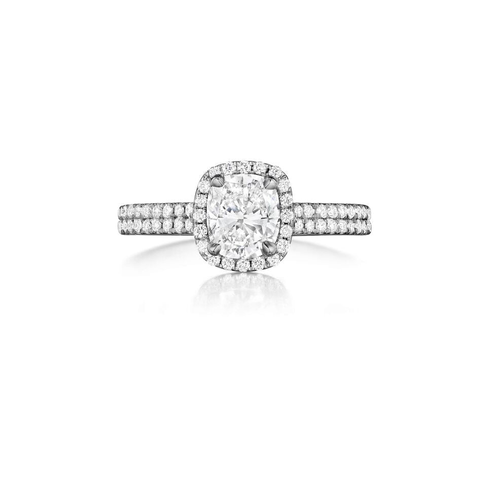Henri Daussi double shank halo Diamond Engagement Ring H13