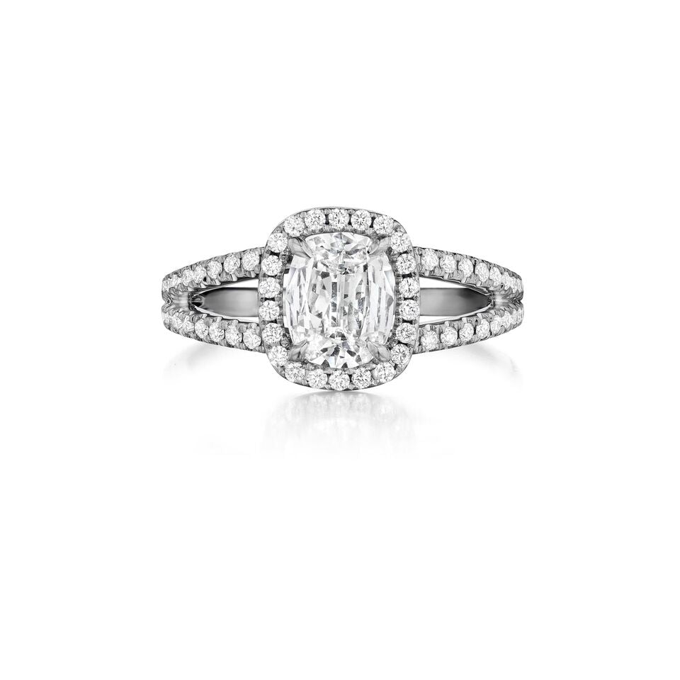 Henri Daussi halo split shank diamond engagement ring H23 available at Richter & Phillips Jewelers Downtown Cincinnati OH