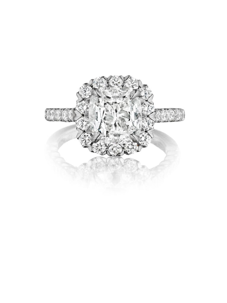 henri daussi v-prong set halo single shank diamond engagement ring AJS available at Richter & Phillips Jewelers Downtown Cincinnati OH