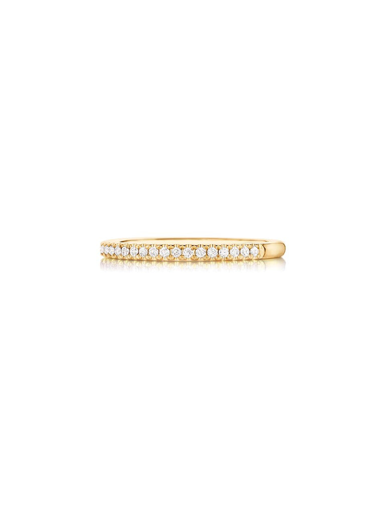 Henri Daussi yellow gold pave diamond wedding band R1-8 available at Richter & Phillips Jewelers Downtown Cincinnati OH