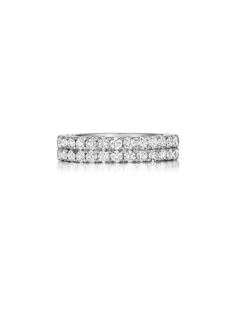 Henri Daussi Double Row Prong set diamond wedding band R15 available at Richter & Phillips Jewelers Downtown Cincinnati OH