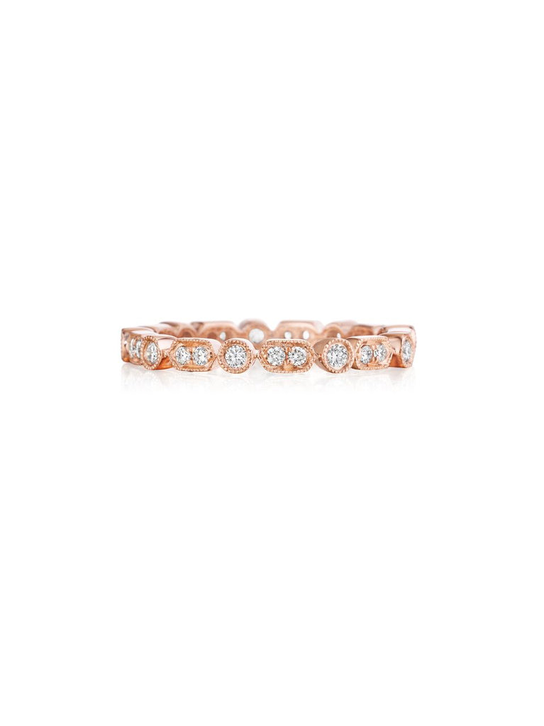 Henri Daussi rose gold bead and bezel set diamond milgrain wedding band R43-2 Richter & Phillips Jewelers Cincinnati OH