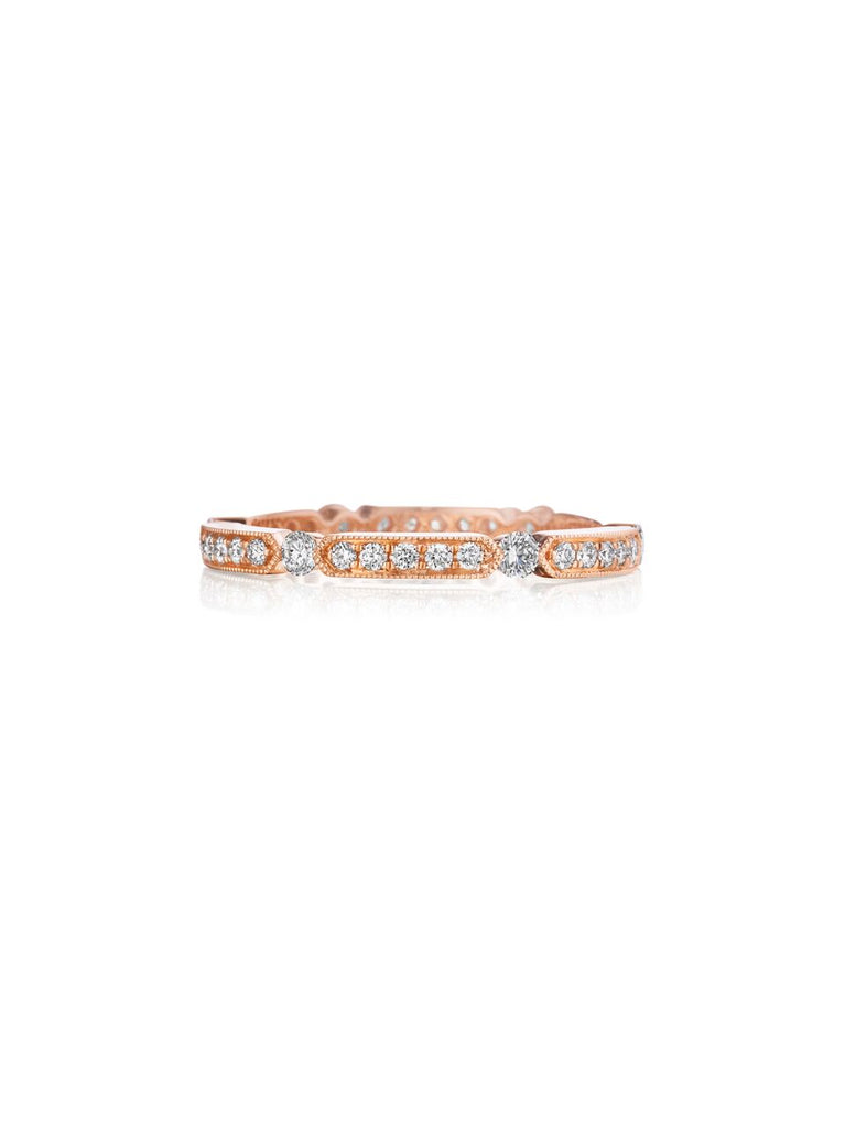 Henri Daussi rose gold bead set diamond milgrain wedding band R44-2 Richter & Phillips Jewelers Cincinnati OH