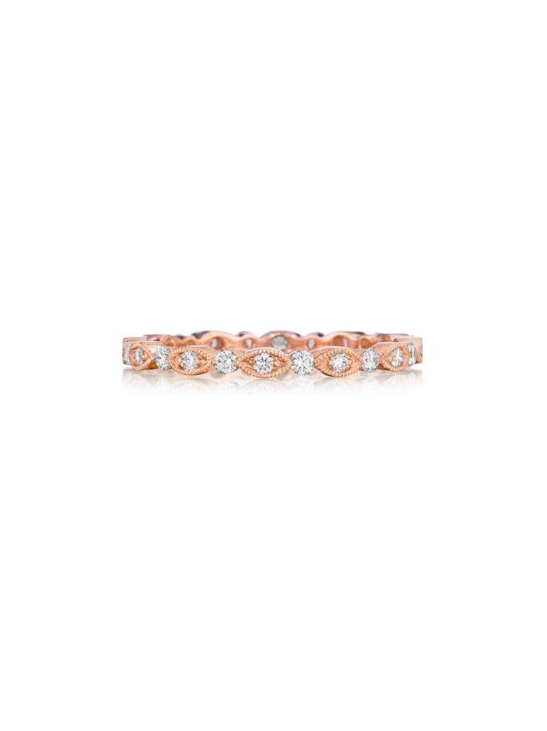 Henri Daussi rose gold bead set diamond milgrain wedding band R26-2 Richter & Phillips Jewelers Cincinnati OH