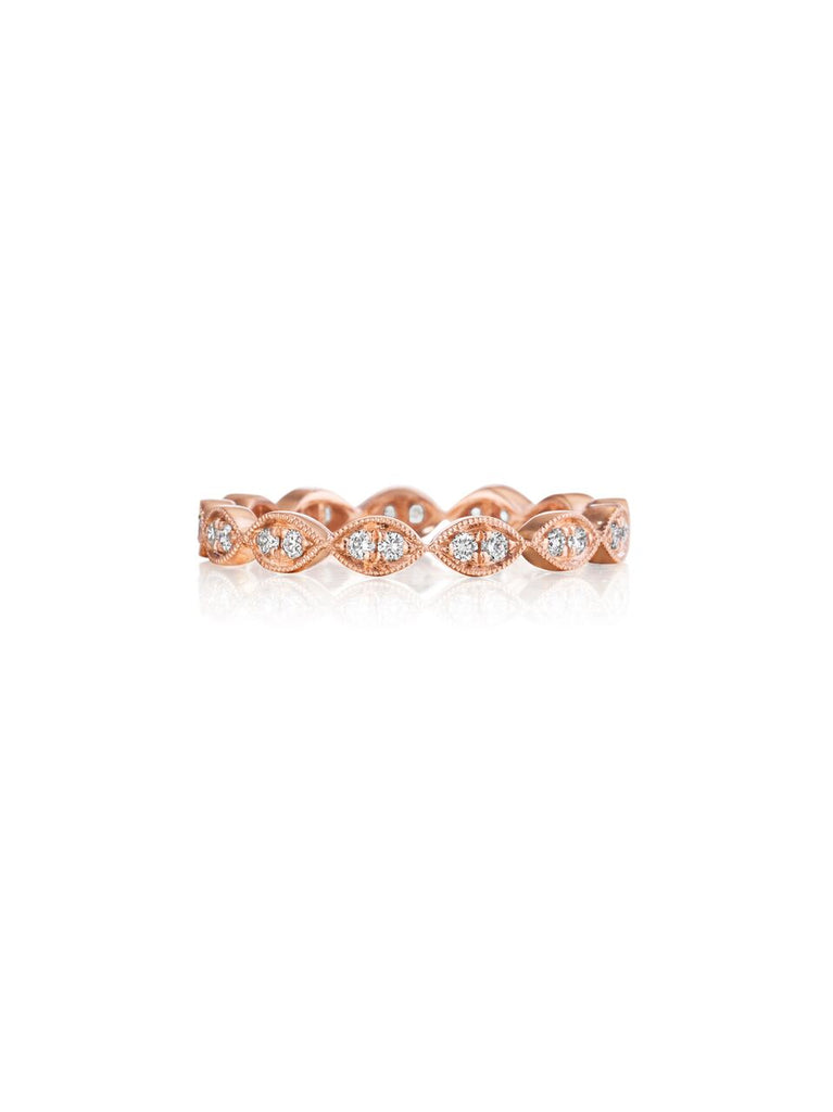Henri Daussi rose gold bead set diamond milgrain wedding band R42-2 Richter & Phillips Jewelers Cincinnati OH