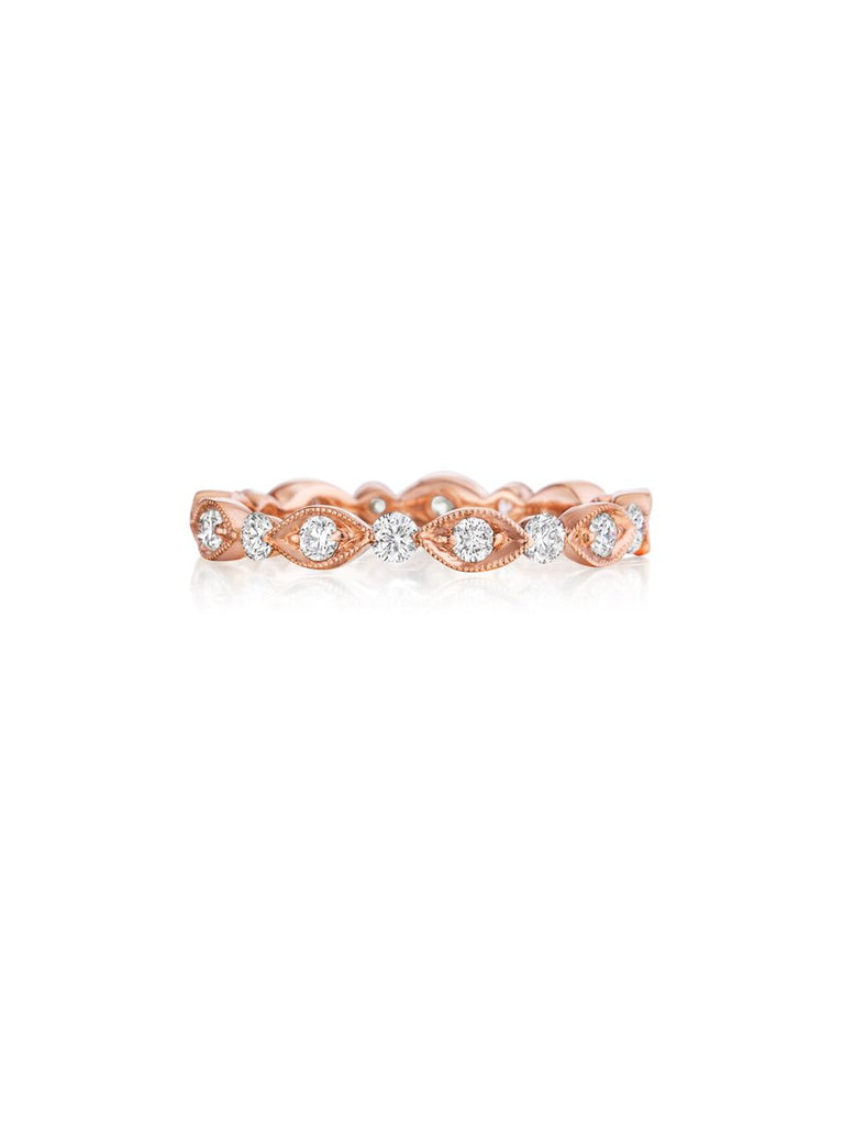 Henri Daussi rose gold bead set diamond milgrain wedding band R37-2 Richter & Phillips Jewelers Cincinnati OH